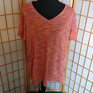 Short Sleeve Tek Gear DryTEK Top Orange Purple XL